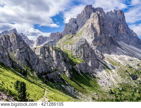 Beatiful Trail From Val Di Funes To Odle D'eores In Dolomites Mountains Of Northern Italy