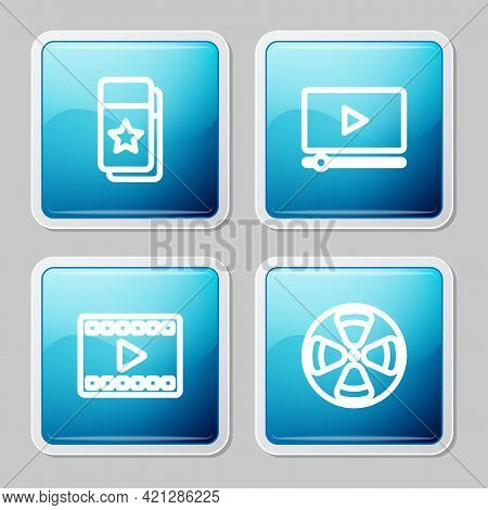 Set Line Cinema Ticket, Online Play Video, Play Video And Film Reel Icon. Vector