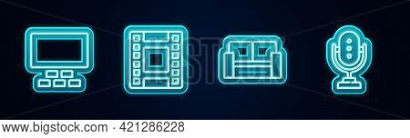 Set Line Cinema Auditorium With Seats, Play Video, Chair And Microphone. Glowing Neon Icon. Vector