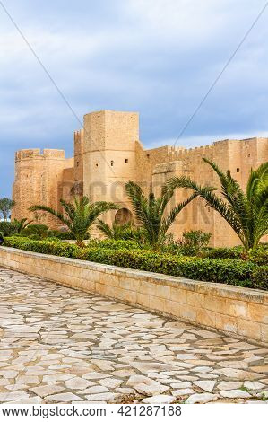 The Huge, Majestic Walls And Towers Of Ribat Fortress On A Rainy Day. Ribat Is An Architectural Jewe
