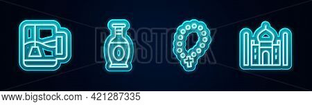 Set Line Cup Of Tea With Tea Bag, Indian Vase, Rosary Beads Religion And Taj Mahal. Glowing Neon Ico