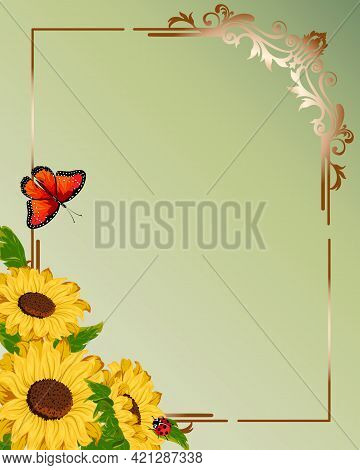 Illustration With Sunflowers And An Openwork Frame.vector Illustration With Sunflowers And An Openwo