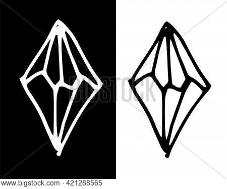 Doodle Crystal Set, Great Design For Any Purposes. Esoteric Vector. Line Art.vector Set Of Stylized
