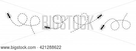 Cute Ant Set Walking On A Dotted Line Route. Line Of Working Ants. Vector Illustration Isolated On W
