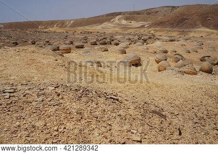 Unreally Spherical Rocks In Nahal Keidar Reserve, South Israel, Sunset Time, Twilight