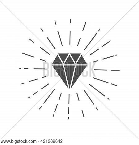 Shiny Diamond Black Icon. Jewelry Symbol With Sun Rays. Cristal Shape Sign. Gemstone Silhouette. Wea