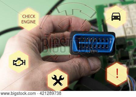 Car Service Manager With Car Diagnostic Error Scanner Obd2 Plug. Tablet Computer Machine Tool. Compu