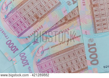 Ukrainian Currency. Background Of One Thousand Hryvnia Banknotes