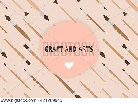 Vector Banner With Paint Brushes And Place For Your Text. Template For Poster, Web And Advertising B