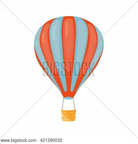 Striped Red-blue Hot Air Balloon With Basket In Cartoon Style Isolated On White Background. Hot Air