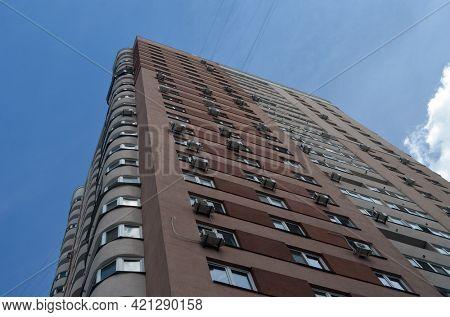 Modern residential area in Kiev. Exterior.Streets,buildings,detales. May 21,2021. Kiev , Ukraine