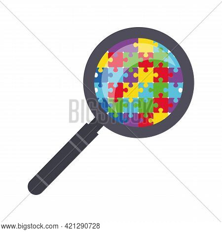 A Magnifying Glass Through Which You Can See The Details Of The Puzzle. Autism Symbol. World Autism