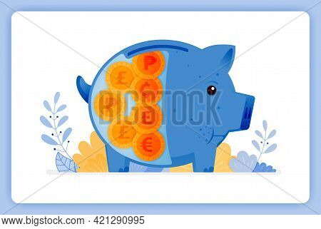 Vector Illustration Of Blue Fat Piggy Bank With Foreign Money. Saving And Investing. Vector Illustra