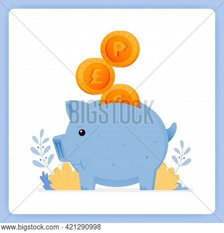 Vector Illustration Of Cute Blue Piggy Bank With Stacked Coins. Save For Investment. Vector Illustra