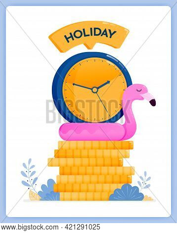 Vector Illustration Of Saving Up For Holidays At End Year. Plan Your Vacation Now. Vector Illustrati