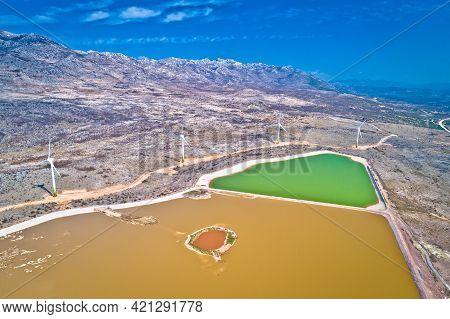 Wind Power Turbines Under Velebit Mountain View, Alkaline Pool From Abandoned Factory, Dalmatia Regi