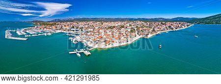 Town Of Pirovac Coastline Aerial Panoramic View, Dalmatia Archipelago Of Adriatic Sea In Croatia