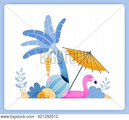 Vector Illustration Of Travel To Tropical Island With Beach Vibes And Banana Trees. Vector Illustrat