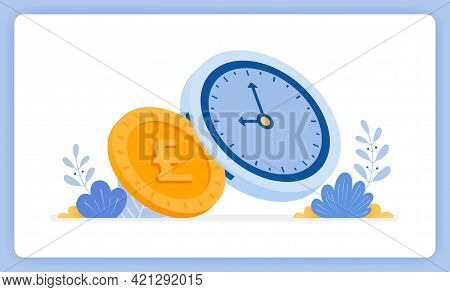 Vector Illustration Of Time Is Money And Can Exchanged For Money. Financial Management. Vector Illus