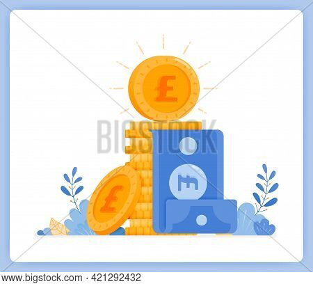 Vector Illustration Of Pile Of Pound Coins With Banknote Stuck In Middle. Banking Metaphor. Vector I