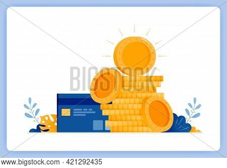 Vector Illustration Of Pile Of Currency Coins With Credit Card On Side. Jokes Of Debt. Vector Illust