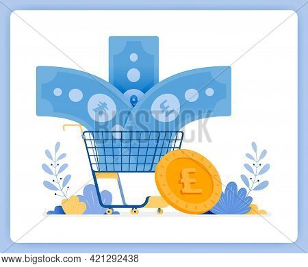 Vector Illustration Of Foreign Banknote Currency Enter Shopping Cart. Euros Not Bought. Vector Illus
