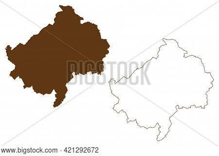 Bad Kreuznach District (federal Republic Of Germany, State Of Rhineland-palatinate) Map Vector Illus