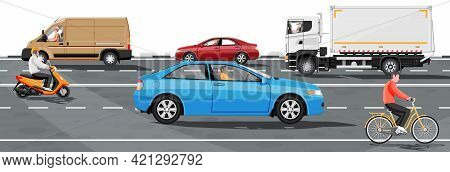 Collection Of Various Vehicles On Road. Sedan, Van, Truck And Motorbike, Bicycle. Car For Transporta