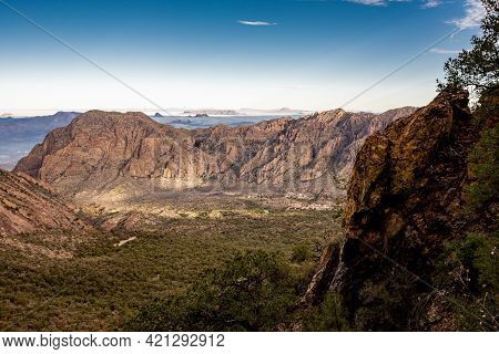 Looking Down At Campsite In Chisos Basin In Big Bend National Park