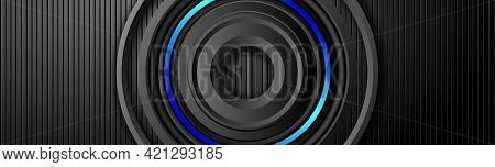 Dark Metal Banner With Multilayered Dark Round Frame. 3d Layers And Neon Lighting.