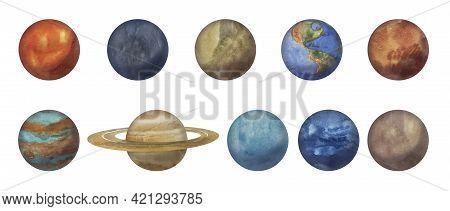 Watercolor Set Of Planets Of The Solar System: Mercury,\nvenus, Earth, Mars, Jupiter,\nsaturn, Uranu
