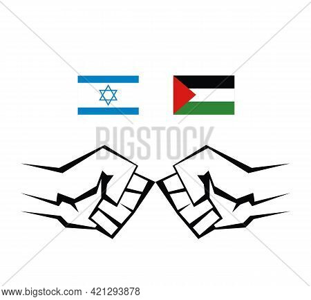 Two Contoured Fists Are Directed Towards Each Other. Military Conflict Between Palestine And Israel.
