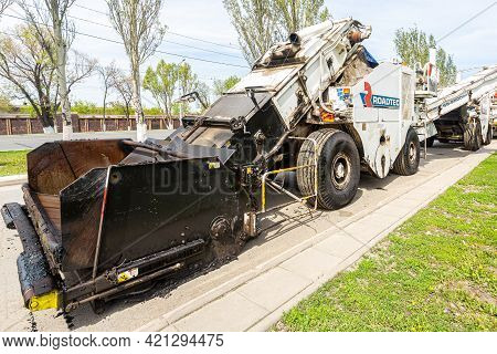 Samara, Russia - May 10, 2021: Roadtec Street Machine Working On The Construction Of New Road In Sum