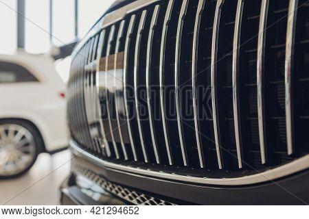Macro Closeup Shot Of Silver Aluminium Car Front Bumper Vents Grill Mesh For Air Intake To Engine An