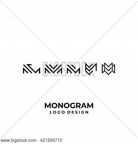 A Clean, Modern Logo About The Letters M And E Designed From Geometric Lines. Eps10, Vector.