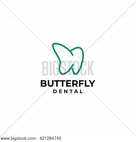 Modern And Unique Logo About The Dentist And Butterfly Wing On The Left. Eps10, Vector.