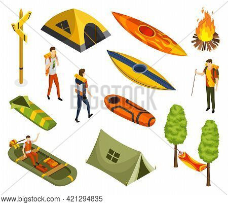Isometric Camping. Colored Symbols Of Hiking. Icon Set With Tools Attributes And Elements Of Camp Eq