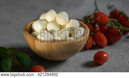 Close Up Of Fresh Apulian Mozzarella Cheese In A Wooden Bowl, Close Up And Selective Focus, Food Mad