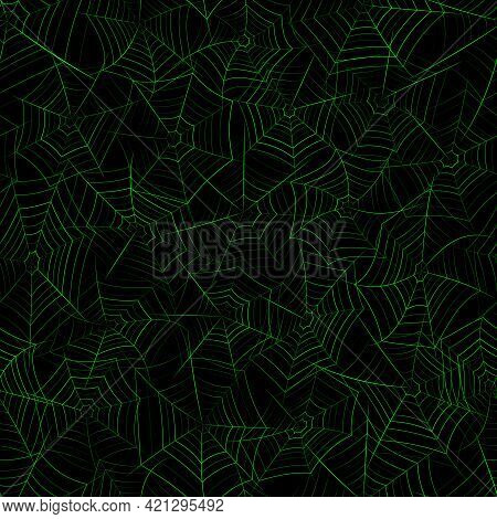 Seamless Pattern With Spider Web. Halloween Decoration With Green Cobweb