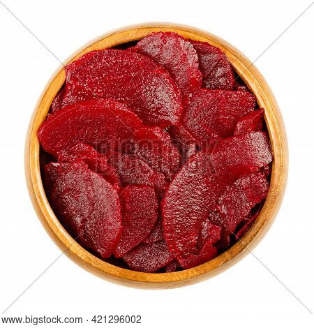 Sliced Pickled Beetroot Slices, In A Wooden Bowl. Cooked, Cut And Preserved Deep Red Beets, Used As