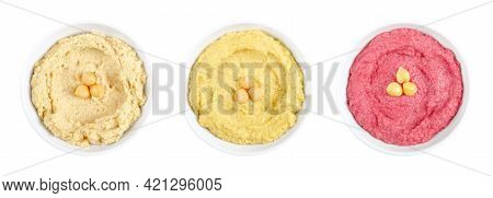 Hummus Dips, In White Bowls. Middle Eastern Dip, A Spread Made Of Cooked, Mashed Chickpeas, Blended