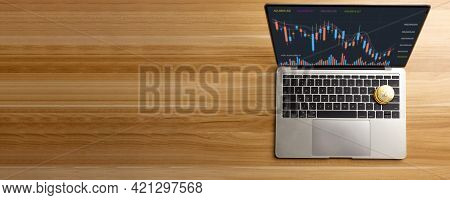 Bitcoin On Laptop On Table At Home, Cryptocurrency Profit And Income From Investing In Stock To Exch