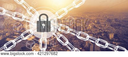 Blockchain Connecting Line Technology And Cyber Security Concept, Fintech Network And Social Digital