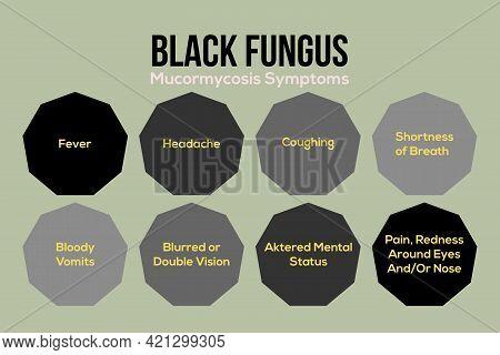 Black Fungus Disease Mucormycosis Symptoms Infographics Vector Illustration Design