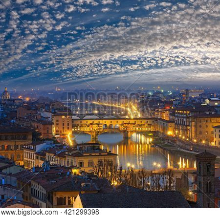 Night Florence City Top View (italy, Tuscany) On Arno River.