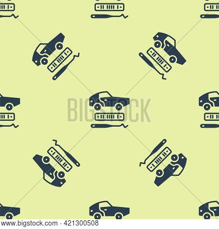 Blue Car Theft Icon Isolated Seamless Pattern On Yellow Background. Vector