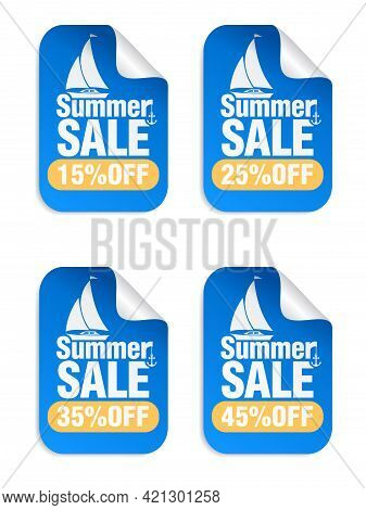 Summer Sale Blue Stickers Set With Yacht Icon . Sale Stickers 15%, 25%, 35%, 45% Off. Vector Illustr