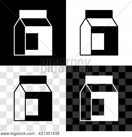 Set Paper Package For Milk Icon Isolated On Black And White, Transparent Background. Milk Packet Sig