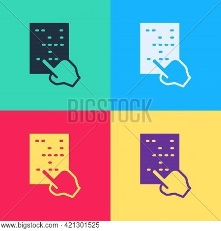 Pop Art Braille Icon Isolated On Color Background. Finger Drives On Points. Writing Signs System For