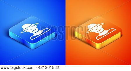 Isometric Deafness Icon Isolated On Blue And Orange Background. Deaf Symbol. Hearing Impairment. Squ
